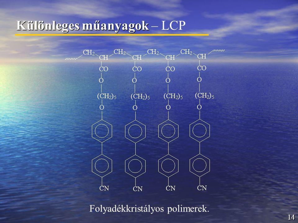 14 Különleges műanyagok Különleges műanyagok – LCP Folyadékkristályos polimerek.