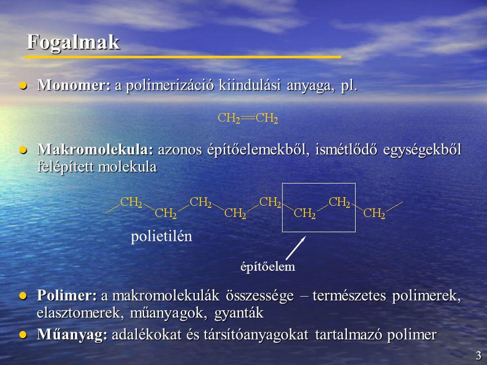 3 Fogalmak Monomer: a polimerizáció kiindulási anyaga, pl. Monomer: a polimerizáció kiindulási anyaga, pl. Makromolekula: azonos építőelemekből, ismét