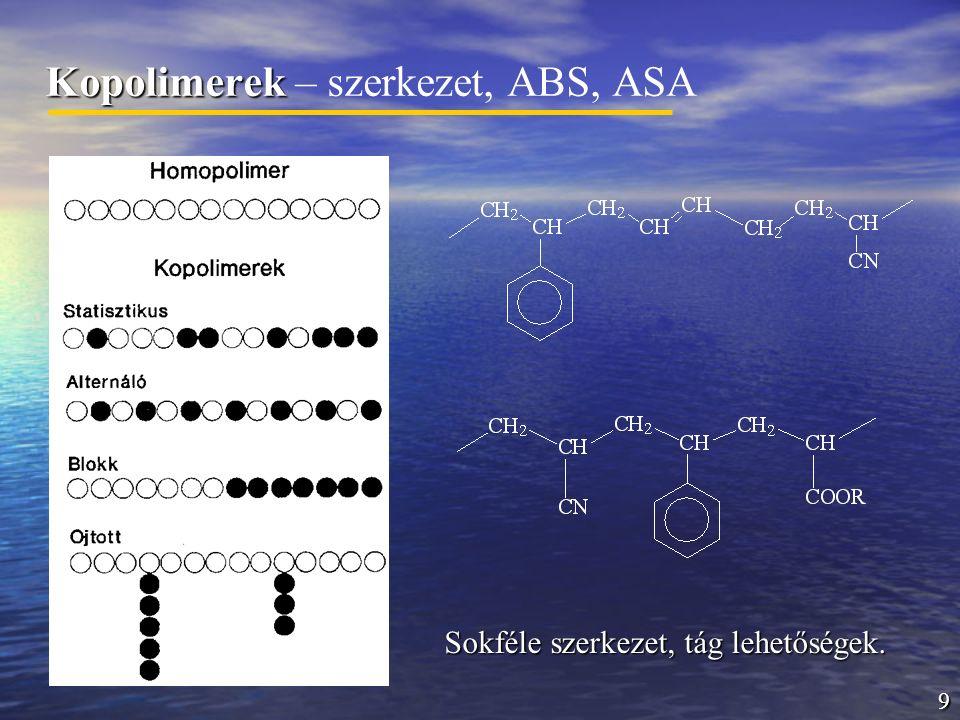9 Kopolimerek Kopolimerek – szerkezet, ABS, ASA Sokféle szerkezet, tág lehetőségek.