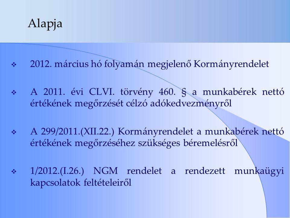 Alapja  2012. március hó folyamán megjelenő Kormányrendelet  A 2011. évi CLVI. törvény 460. § a munkabérek nettó értékének megőrzését célzó adókedve