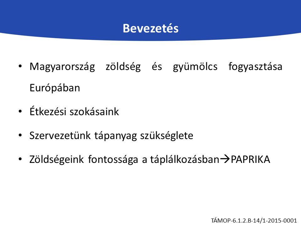 Bevezetés Magyarország zöldség és gyümölcs fogyasztása Európában Étkezési szokásaink Szervezetünk tápanyag szükséglete Zöldségeink fontossága a táplálkozásban  PAPRIKA TÁMOP-6.1.2.B-14/1-2015-0001