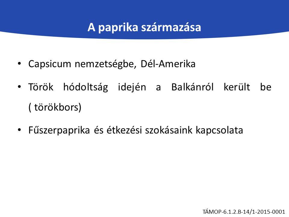 A paprika származása Capsicum nemzetségbe, Dél-Amerika Török hódoltság idején a Balkánról került be ( törökbors) Fűszerpaprika és étkezési szokásaink