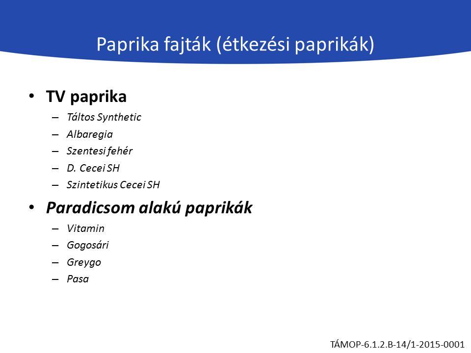 Paprika fajták (étkezési paprikák) Kápia típusú paprikák – Kárpia F1 – Székely F1 – Csángó Hegyes paprika Alma paprika TÁMOP-6.1.2.B-14/1-2015-0001