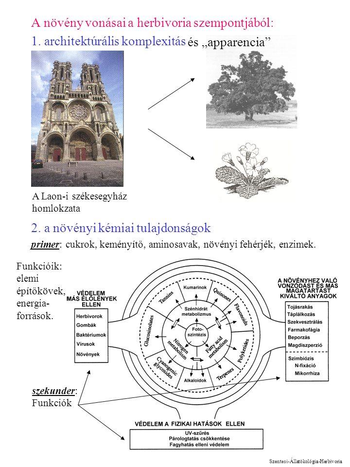 2 A növény vonásai a herbivoria szempontjából: 1. architektúrális komplexitás 2. a növényi kémiai tulajdonságok primer: cukrok, keményítő, aminosavak,