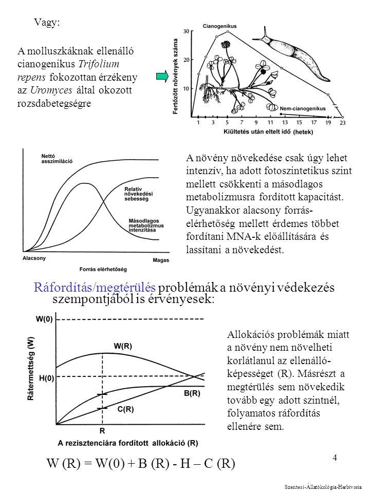 4 A molluszkáknak ellenálló cianogenikus Trifolium repens fokozottan érzékeny az Uromyces által okozott rozsdabetegségre Vagy: Ráfordítás/megtérülés p