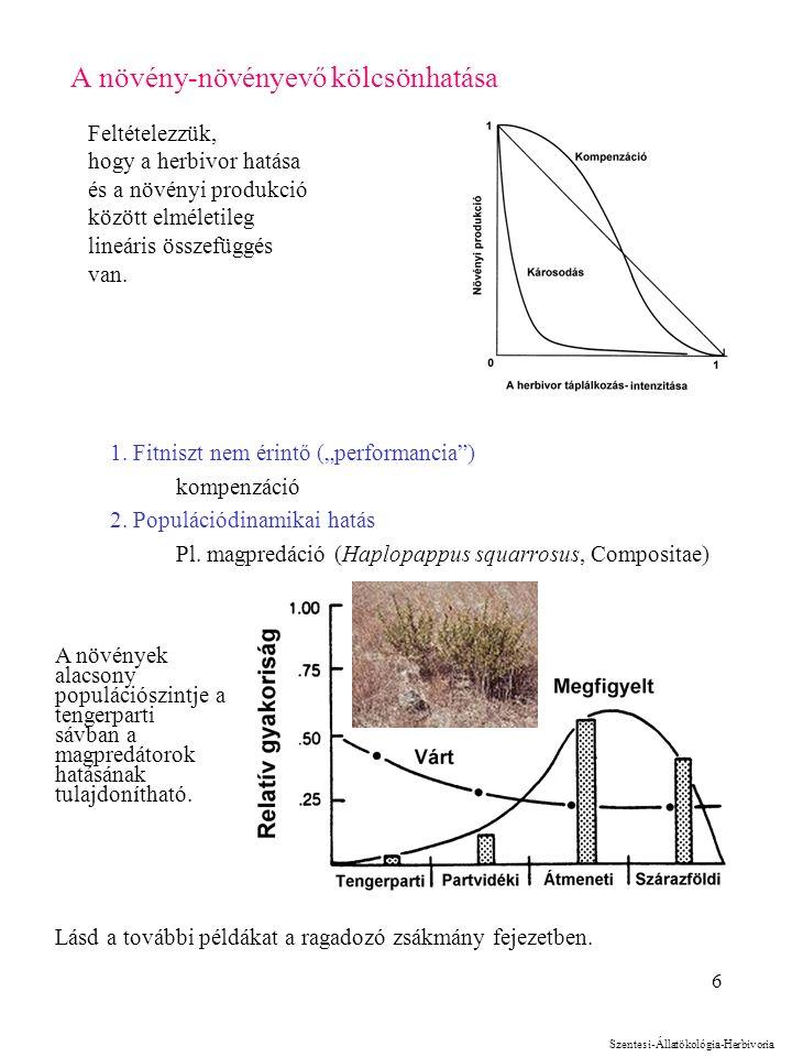 """6 A növény-növényevő kölcsönhatása 1. Fitniszt nem érintő (""""performancia"""") kompenzáció 2. Populációdinamikai hatás Pl. magpredáció (Haplopappus squarr"""