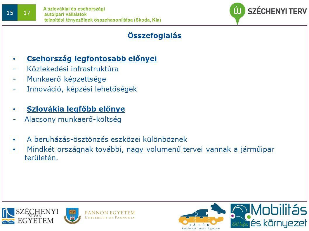 A szlovákiai és csehországi autóipari vállalatok telepítési tényezőinek összehasonlítása (Skoda, Kia) 1517 Csehország legfontosabb előnyei - Közlekedési infrastruktúra - Munkaerő képzettsége - Innováció, képzési lehetőségek Szlovákia legfőbb előnye -Alacsony munkaerő-költség A beruházás-ösztönzés eszközei különböznek Mindkét országnak további, nagy volumenű tervei vannak a járműipar területén.