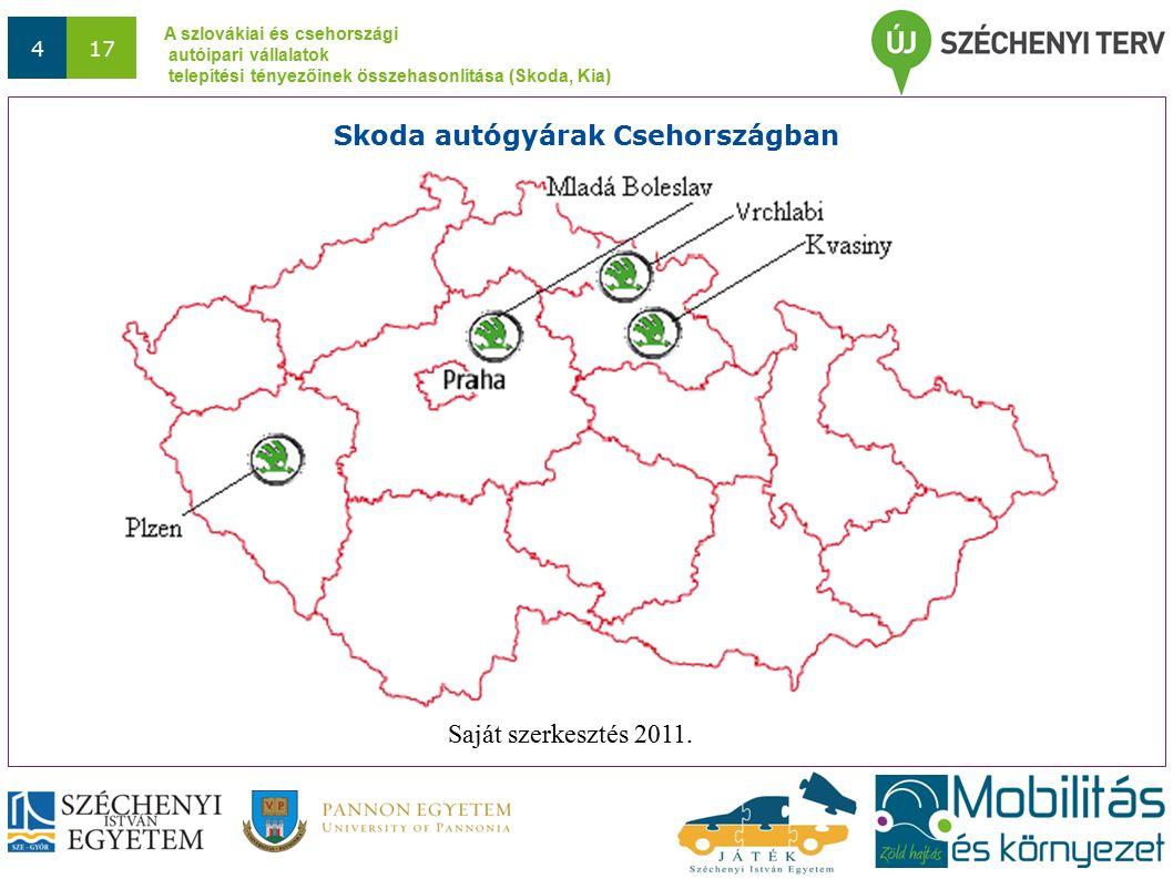 A szlovákiai és csehországi autóipari vállalatok telepítési tényezőinek összehasonlítása (Skoda, Kia) 417 Skoda autógyárak Csehországban Saját szerkesztés 2011.