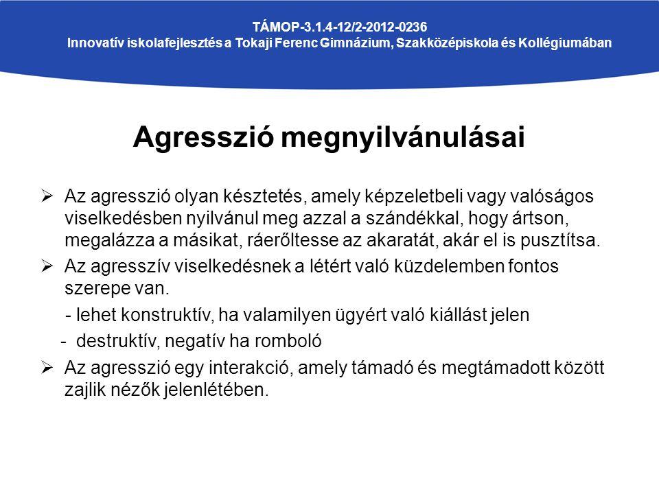 Agresszió megnyilvánulásai  Az agresszió olyan késztetés, amely képzeletbeli vagy valóságos viselkedésben nyilvánul meg azzal a szándékkal, hogy árts