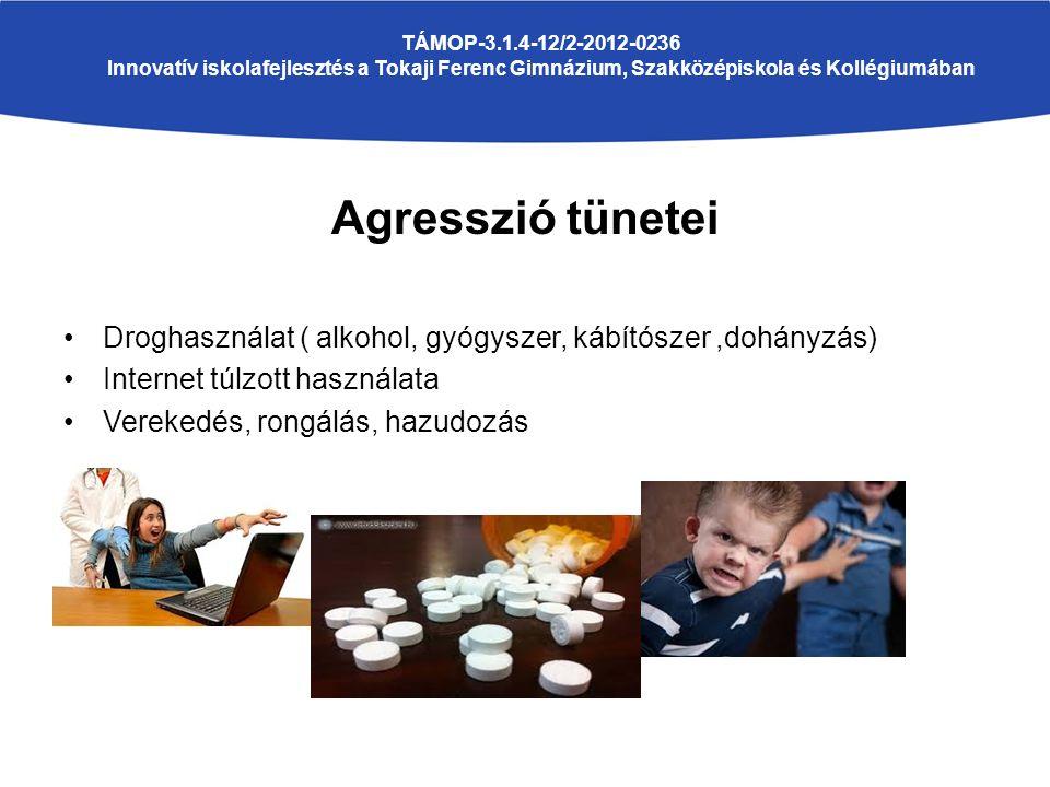 Agresszió tünetei Droghasználat ( alkohol, gyógyszer, kábítószer,dohányzás) Internet túlzott használata Verekedés, rongálás, hazudozás TÁMOP-3.1.4-12/