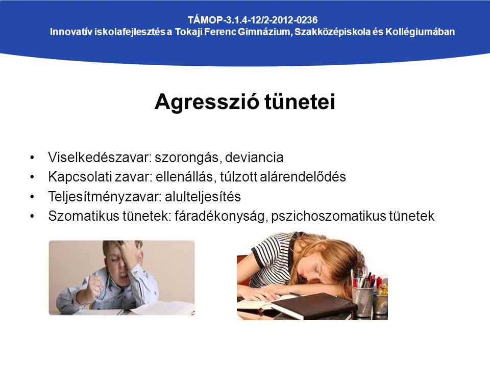 Agresszió tünetei Viselkedészavar: szorongás, deviancia Kapcsolati zavar: ellenállás, túlzott alárendelődés Teljesítményzavar: alulteljesítés Szomatikus tünetek: fáradékonyság, pszichoszomatikus tünetek TÁMOP-3.1.4-12/2-2012-0236 Innovatív iskolafejlesztés a Tokaji Ferenc Gimnázium, Szakközépiskola és Kollégiumában