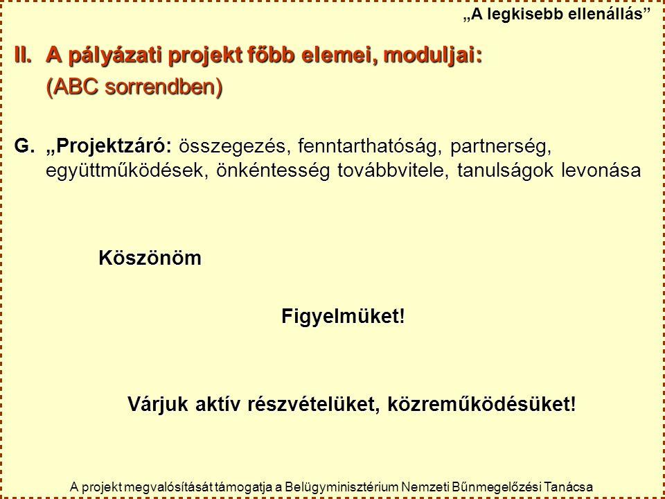 """II.A pályázati projekt főbb elemei, moduljai: (ABC sorrendben) G.""""Projektzáró: összegezés, fenntarthatóság, partnerség, együttműködések, önkéntesség t"""