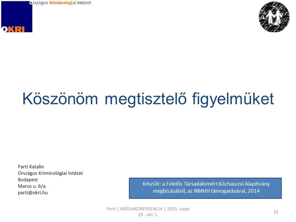 Köszönöm megtisztelő figyelmüket Parti Katalin Országos Kriminológiai Intézet Budapest Maros u.