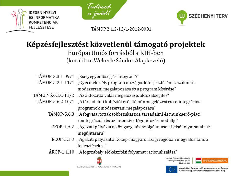 """TÁMOP 2.1.2-12/1-2012-0001 Képzésfejlesztést közvetlenül támogató projektek Európai Uniós forrásból a KIH-ben (korábban Wekerle Sándor Alapkezelő) TÁMOP-3.3.1-09/1""""Esélyegyenlőség és integráció TÁMOP-5.2.1-11/1 """"Gyermekesély program országos kiterjesztésének szakmai- módszertani megalapozása és a program kísérése TÁMOP-5.6.1.C-11/2""""Az áldozattá válás megelőzése, áldozatsegítés TÁMOP-5.6.2-10/1 """"A társadalmi kohéziót erősítő bűnmegelőzési és re-integrációs programok módszertani megalapozása TÁMOP-5.6.3 """"A fogvatartottak többszakaszos, társadalmi és munkaerő-piaci reintegrációja és az intenzív utógondozás modellje EKOP-1.A.2 """"Ágazati pályázat a közigazgatási szolgáltatások belső folyamatainak megújítására EKOP-3.1.3 """"Ágazati pályázat a Közép-magyarországi régióban megvalósítandó fejlesztésekre ÁROP-1.1.10""""A jogszabály előkészítési folyamat racionalizálása"""