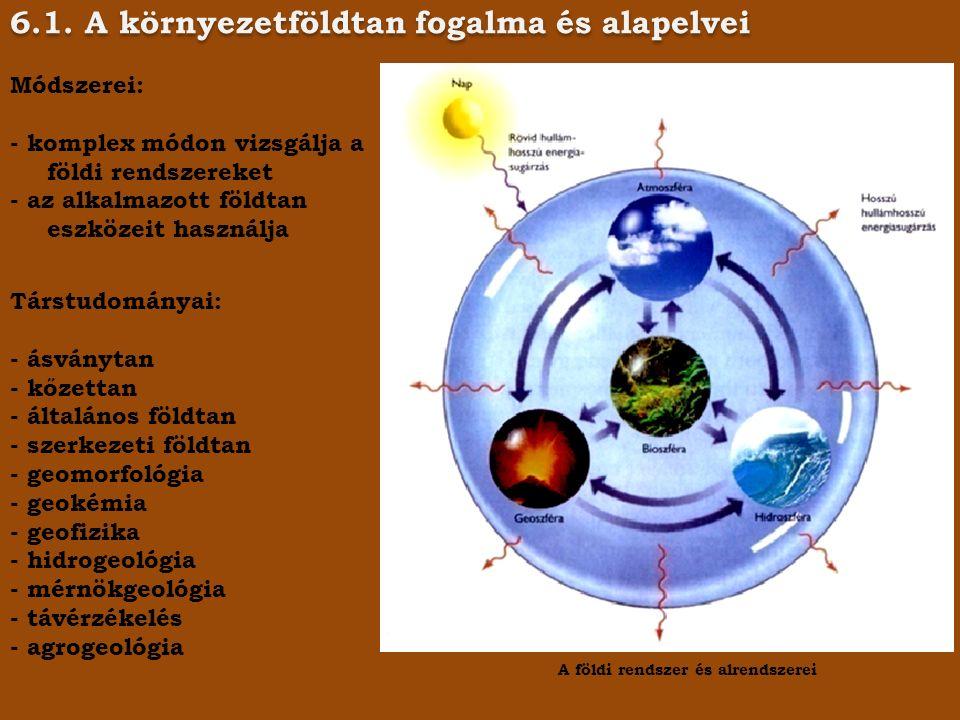 6.1. A környezetföldtan fogalma és alapelvei A földi rendszer és alrendszerei Módszerei: - komplex módon vizsgálja a földi rendszereket - az alkalmazo