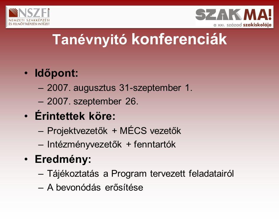 Tanévnyitó konferenciák Időpont: –2007. augusztus 31-szeptember 1.