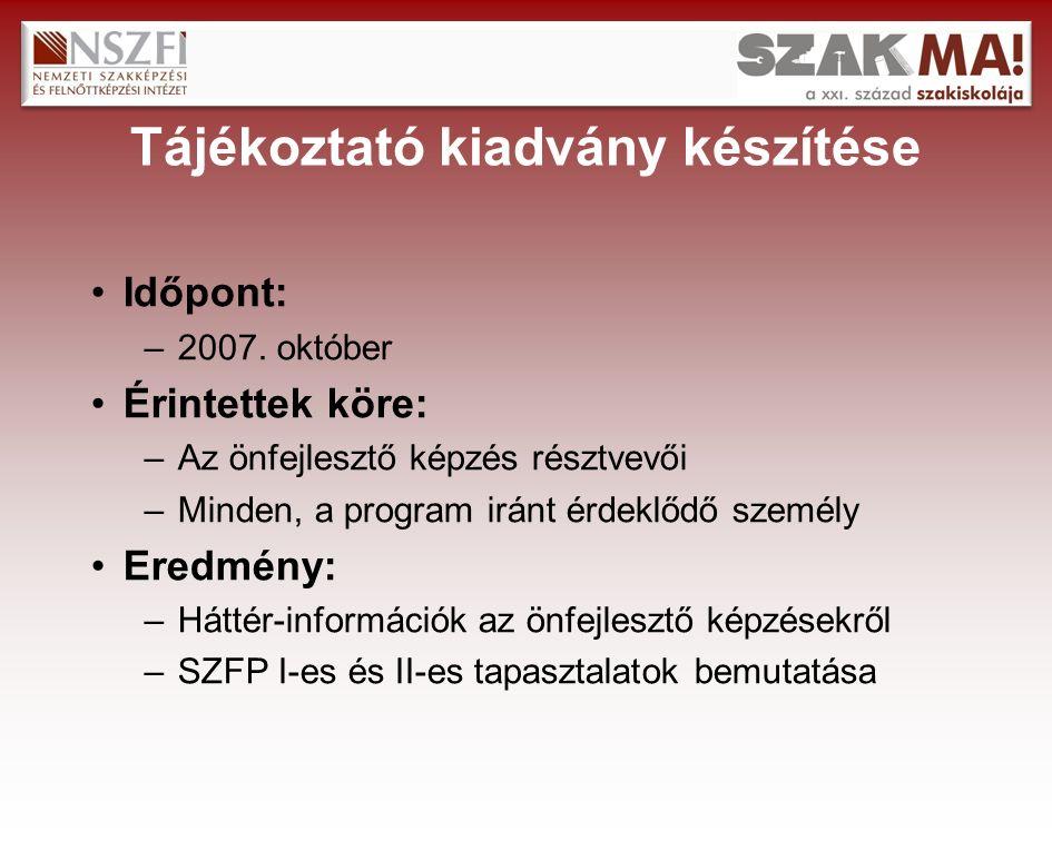 Tájékoztató kiadvány készítése Időpont: –2007.