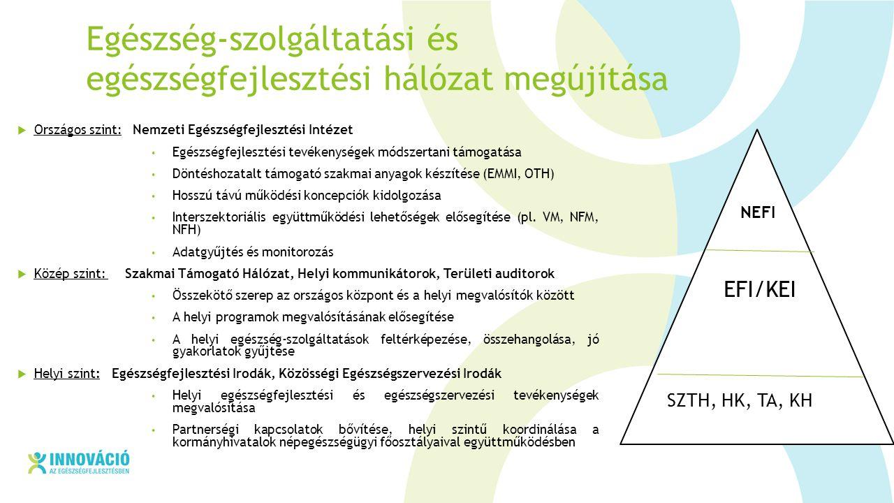 Egészség-szolgáltatási és egészségfejlesztési hálózat megújítása  Országos szint: Nemzeti Egészségfejlesztési Intézet Egészségfejlesztési tevékenységek módszertani támogatása Döntéshozatalt támogató szakmai anyagok készítése (EMMI, OTH) Hosszú távú működési koncepciók kidolgozása Interszektoriális együttműködési lehetőségek elősegítése (pl.