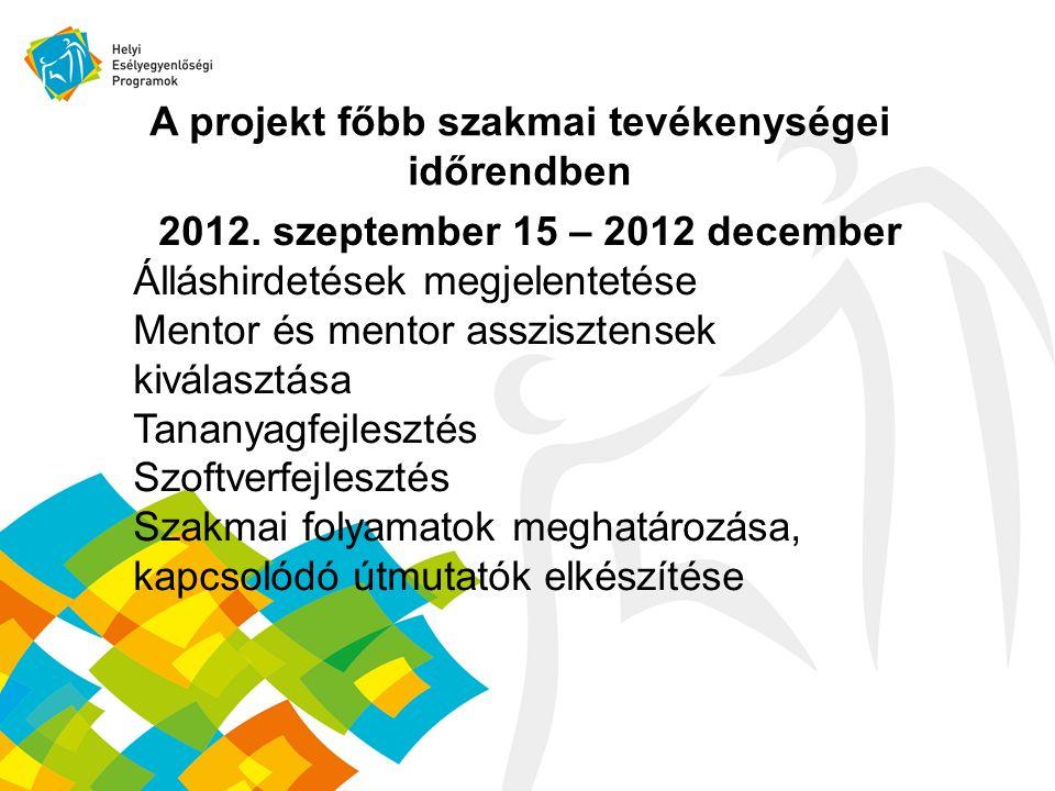 A projekt főbb szakmai tevékenységei időrendben 2012.