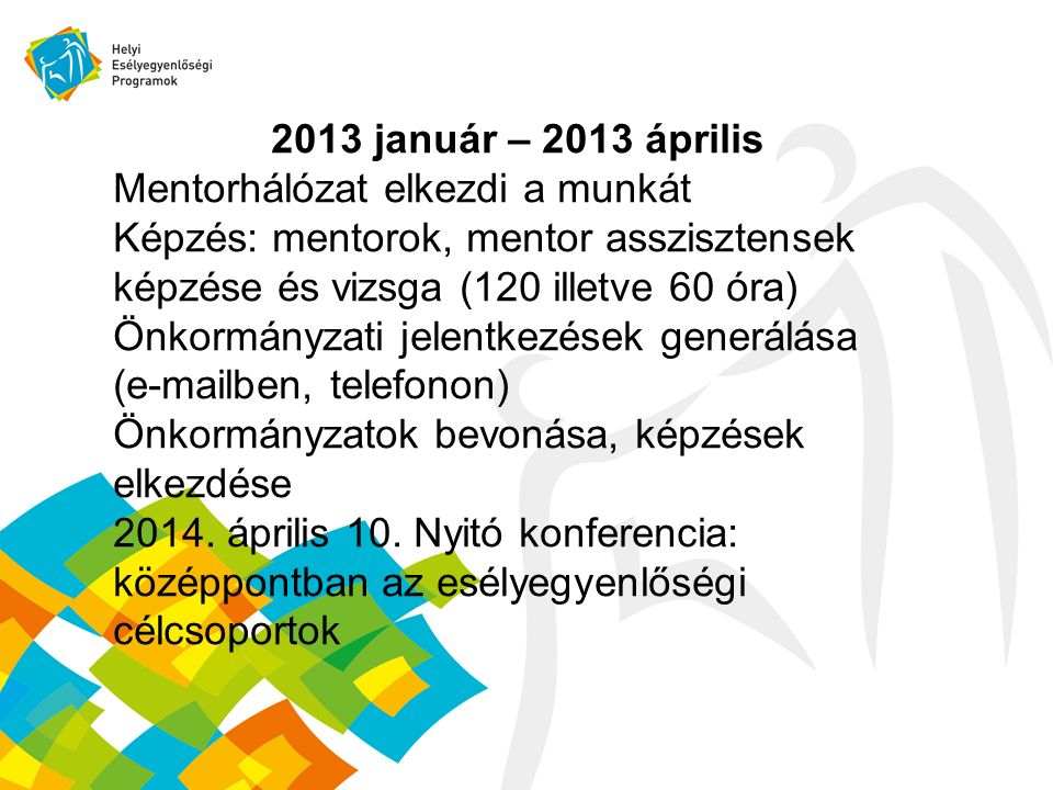 2013 január – 2013 április Mentorhálózat elkezdi a munkát Képzés: mentorok, mentor asszisztensek képzése és vizsga (120 illetve 60 óra) Önkormányzati jelentkezések generálása (e-mailben, telefonon) Önkormányzatok bevonása, képzések elkezdése 2014.