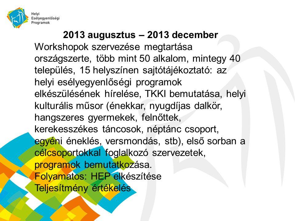 2013 augusztus – 2013 december Workshopok szervezése megtartása országszerte, több mint 50 alkalom, mintegy 40 település, 15 helyszínen sajtótájékoztató: az helyi esélyegyenlőségi programok elkészülésének hírelése, TKKI bemutatása, helyi kulturális műsor (énekkar, nyugdíjas dalkör, hangszeres gyermekek, felnőttek, kerekesszékes táncosok, néptánc csoport, egyéni éneklés, versmondás, stb), első sorban a célcsoportokkal foglalkozó szervezetek, programok bemutatkozása.