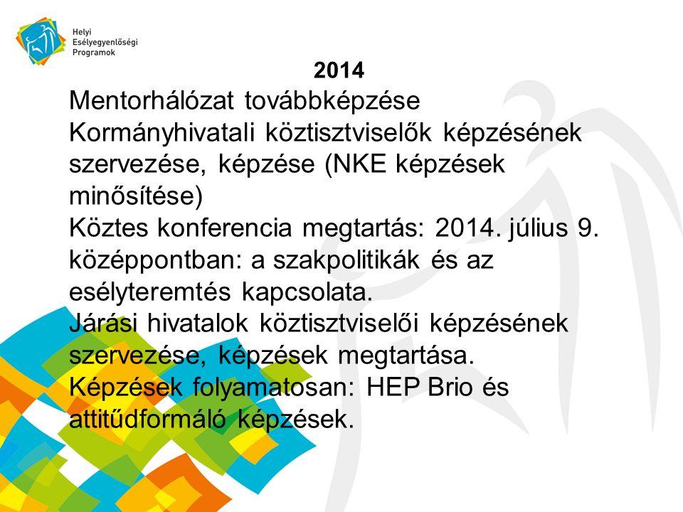 2014 Mentorhálózat továbbképzése Kormányhivatali köztisztviselők képzésének szervezése, képzése (NKE képzések minősítése) Köztes konferencia megtartás: 2014.