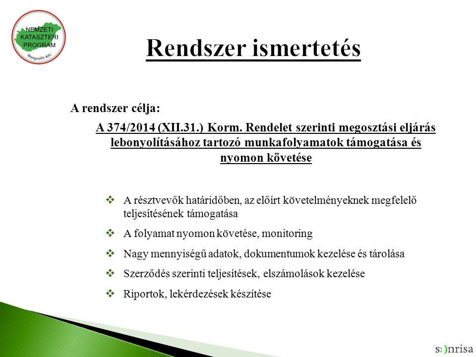 A rendszer célja: A 374/2014 (XII.31.) Korm.