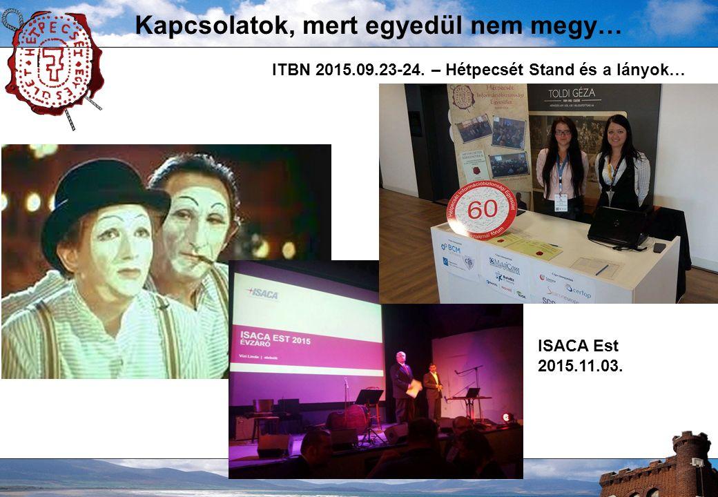 Kapcsolatok, mert egyedül nem megy… I ITBN 2015.09.23-24. – Hétpecsét Stand és a lányok… ISACA Est 2015.11.03.