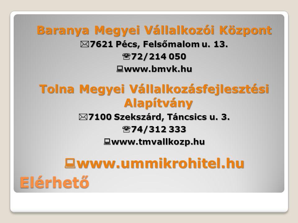 Elérhető Baranya Megyei Vállalkozói Központ  7621 Pécs, Felsőmalom u.