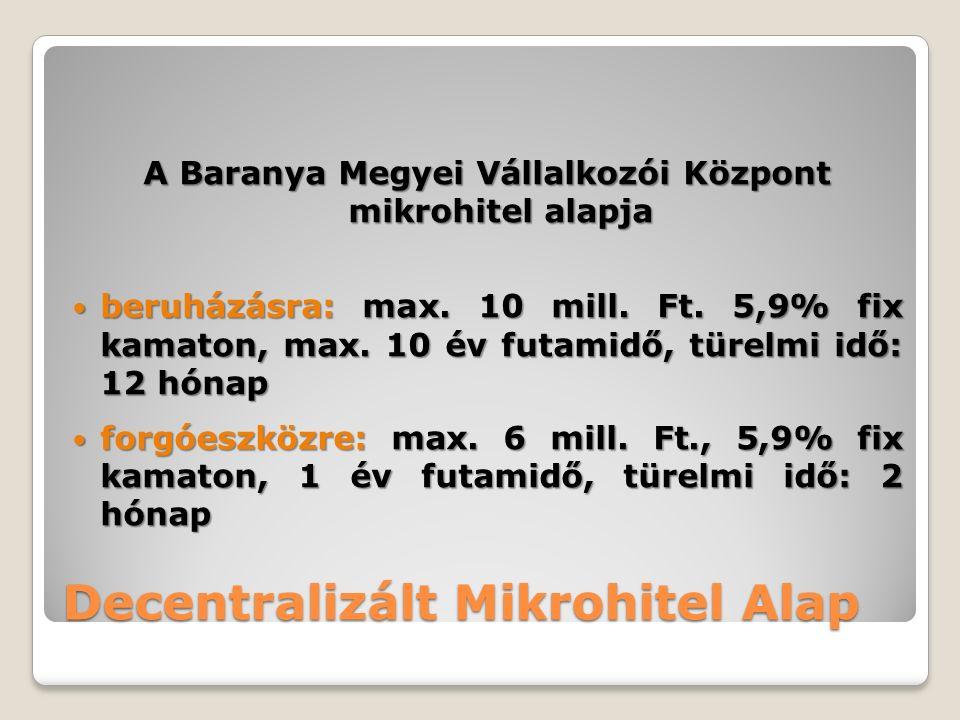 A Baranya Megyei Vállalkozói Központ mikrohitel alapja beruházásra: max.