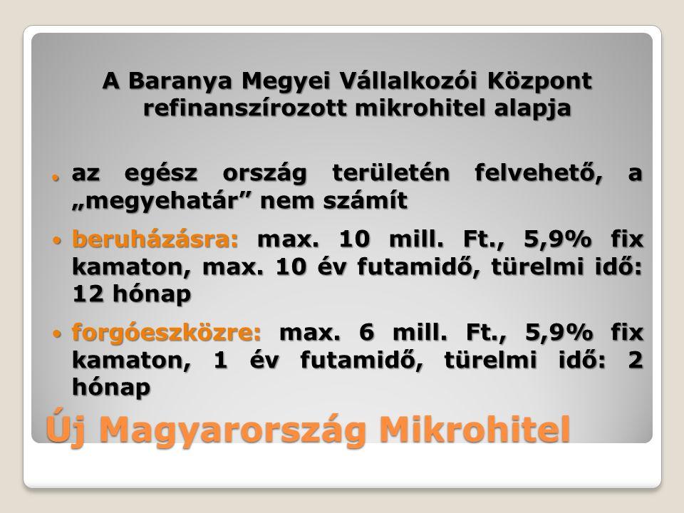 Új Magyarország Mikrohitel A Baranya Megyei Vállalkozói Központ refinanszírozott mikrohitel alapja.