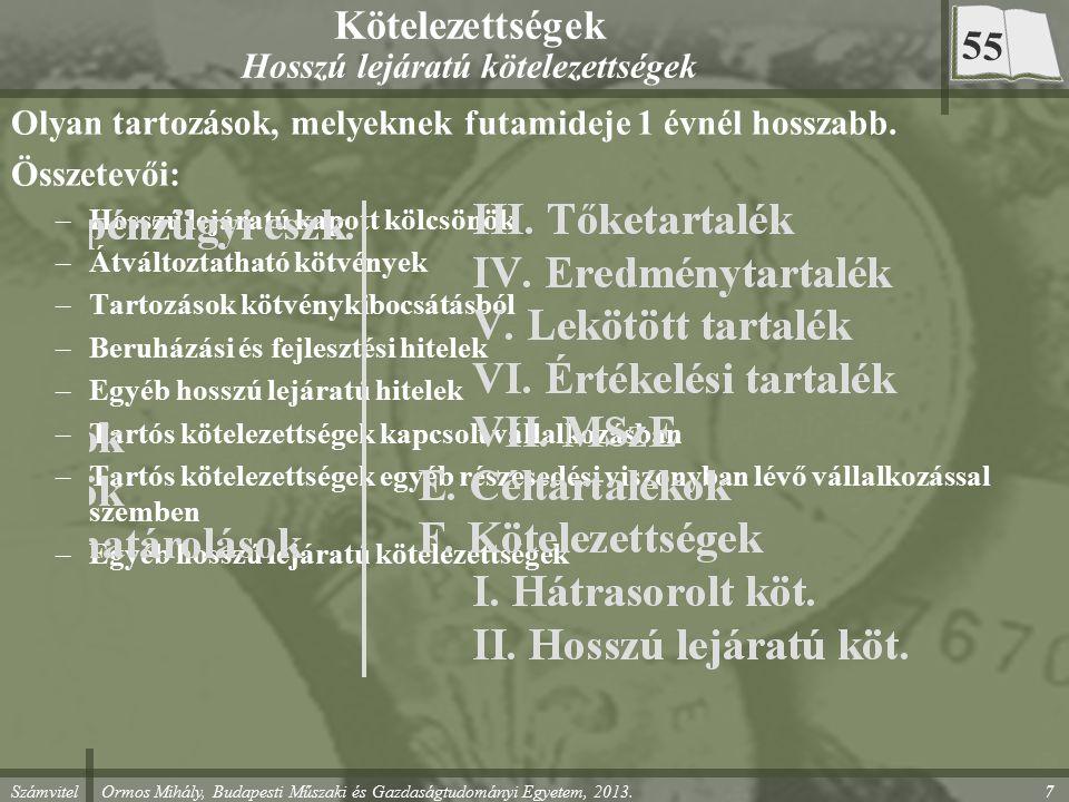 Számvitel Ormos Mihály, Budapesti Műszaki és Gazdaságtudományi Egyetem, 2013. 7 Kötelezettségek Hosszú lejáratú kötelezettségek Olyan tartozások, mely