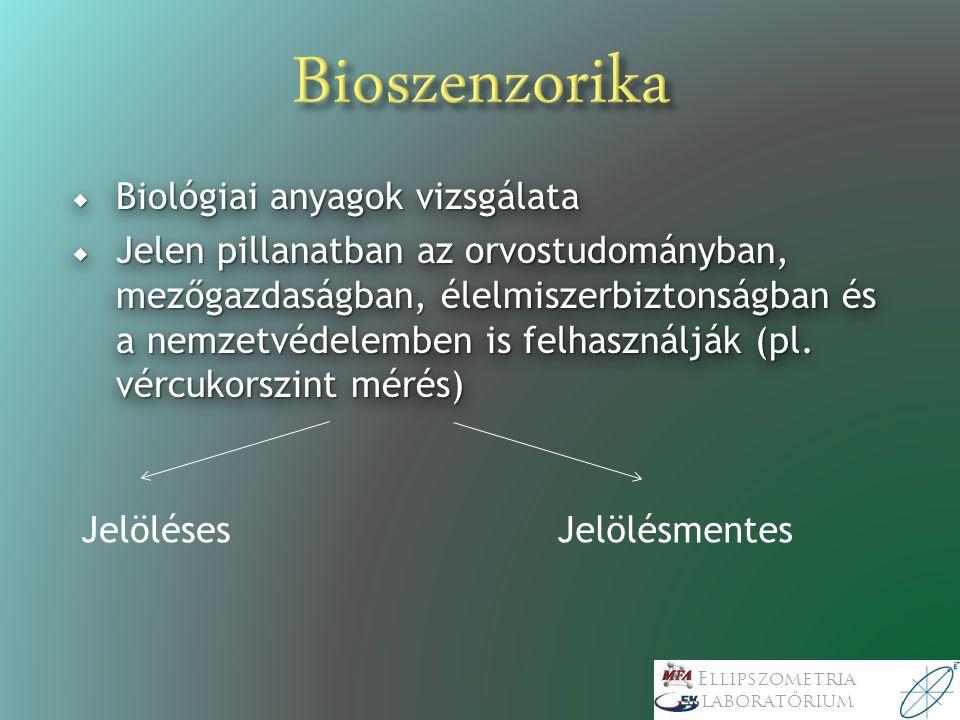 Ellipszometria laboratórium  A biológiai detektálás bioszenzorral történik: