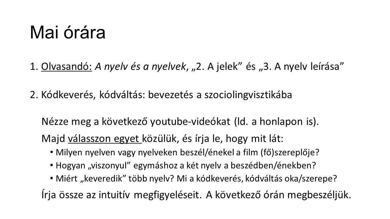 """Mai órára 1. Olvasandó: A nyelv és a nyelvek, """"2. A jelek"""" és """"3. A nyelv leírása"""" 2. Kódkeverés, kódváltás: bevezetés a szociolingvisztikába Nézze me"""