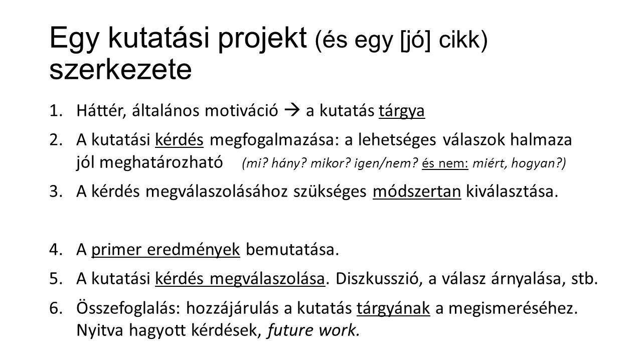 Egy kutatási projekt (és egy [jó] cikk) szerkezete 1.Háttér, általános motiváció  a kutatás tárgya 2.A kutatási kérdés megfogalmazása: a lehetséges v