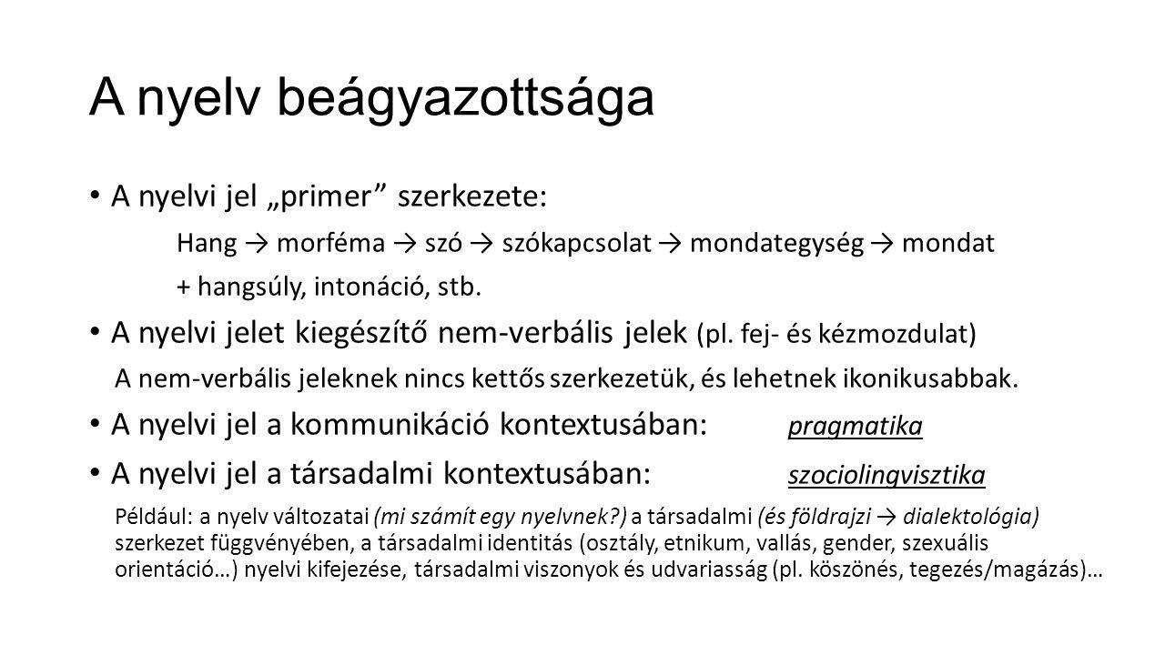 """A nyelv beágyazottsága A nyelvi jel """"primer"""" szerkezete: Hang → morféma → szó → szókapcsolat → mondategység → mondat + hangsúly, intonáció, stb. A nye"""