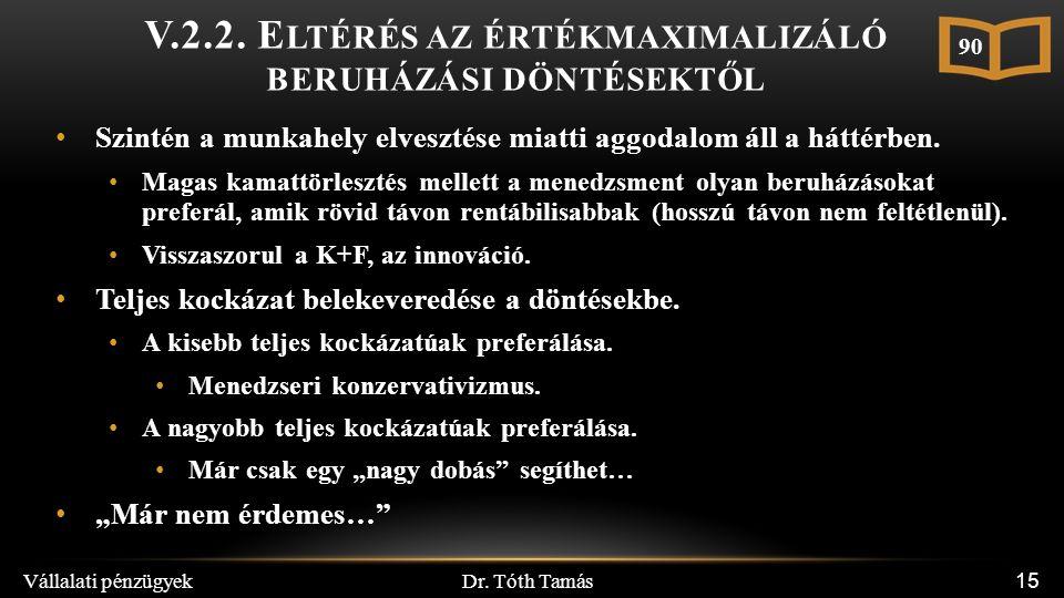 Dr. Tóth Tamás Vállalati pénzügyek 15 V.2.2. E LTÉRÉS AZ ÉRTÉKMAXIMALIZÁLÓ BERUHÁZÁSI DÖNTÉSEKTŐL Szintén a munkahely elvesztése miatti aggodalom áll