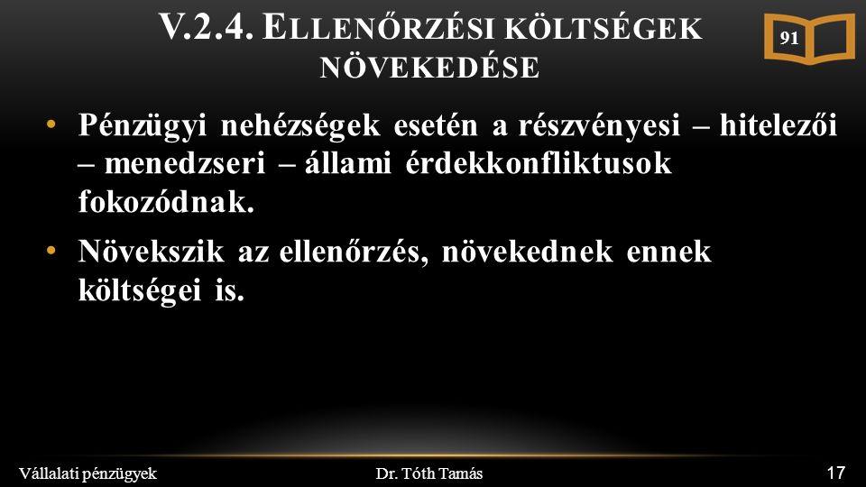 Dr. Tóth Tamás Vállalati pénzügyek 17 V.2.4. E LLENŐRZÉSI KÖLTSÉGEK NÖVEKEDÉSE Pénzügyi nehézségek esetén a részvényesi – hitelezői – menedzseri – áll