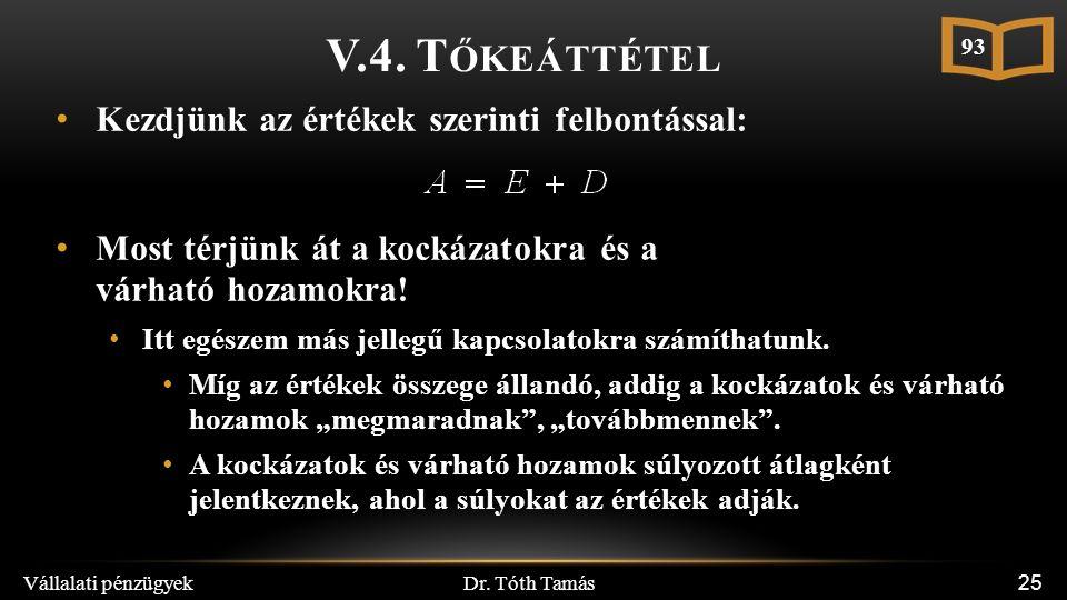 Dr. Tóth Tamás Vállalati pénzügyek 25 V.4. T ŐKEÁTTÉTEL Kezdjünk az értékek szerinti felbontással: Most térjünk át a kockázatokra és a várható hozamok