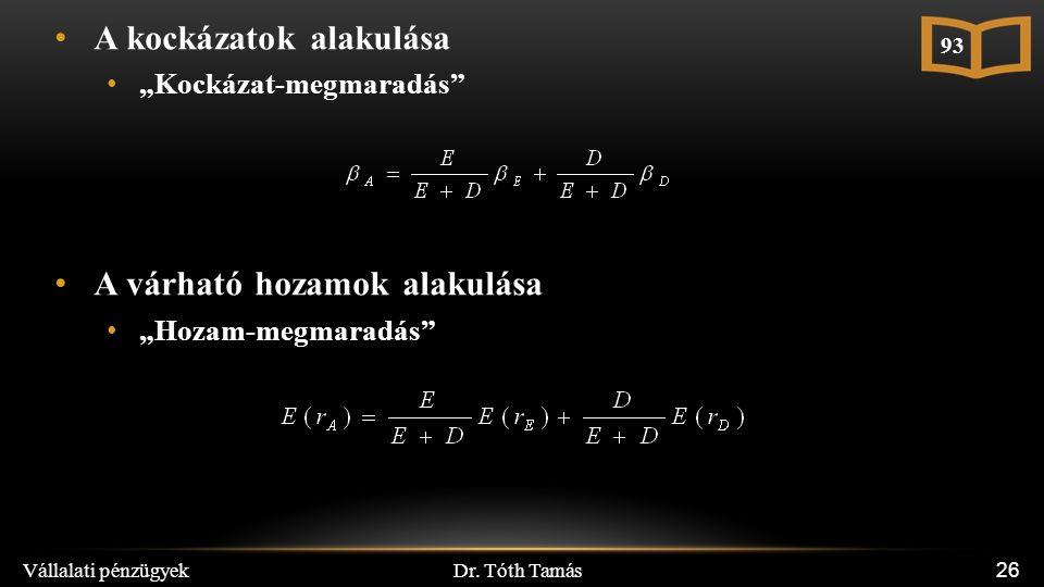 """Dr. Tóth Tamás Vállalati pénzügyek 26 A kockázatok alakulása """"Kockázat-megmaradás"""" A várható hozamok alakulása """"Hozam-megmaradás"""" 93"""