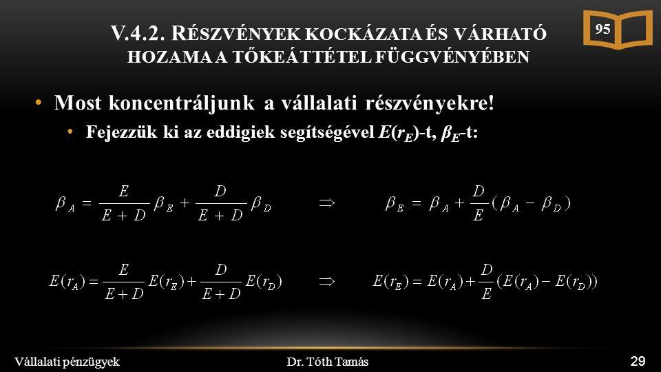Dr. Tóth Tamás Vállalati pénzügyek 29 V.4.2.