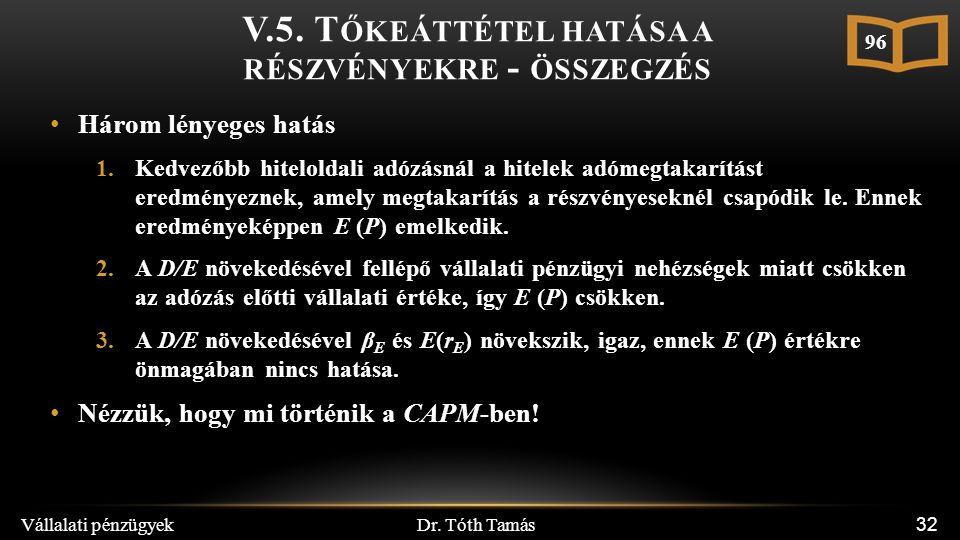 Dr. Tóth Tamás Vállalati pénzügyek 32 V.5. T ŐKEÁTTÉTEL HATÁSA A RÉSZVÉNYEKRE - ÖSSZEGZÉS Három lényeges hatás 1.Kedvezőbb hiteloldali adózásnál a hit