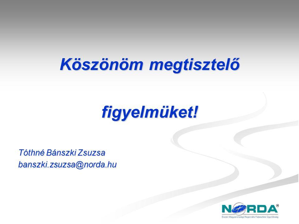 Köszönöm megtisztelő figyelmüket! Tóthné Bánszki Zsuzsa banszki.zsuzsa@norda.hu