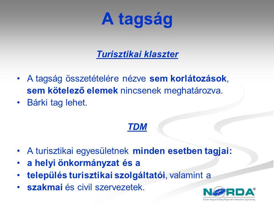 A tagság Turisztikai klaszter A tagság összetételére nézve sem korlátozások, sem kötelező elemek nincsenek meghatározva. Bárki tag lehet. TDM A turisz