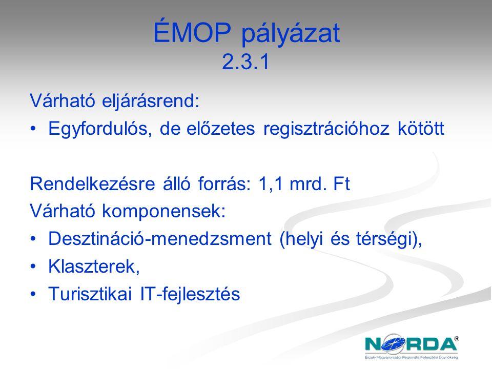ÉMOP pályázat 2.3.1 Várható eljárásrend: Egyfordulós, de előzetes regisztrációhoz kötött Rendelkezésre álló forrás: 1,1 mrd. Ft Várható komponensek: D