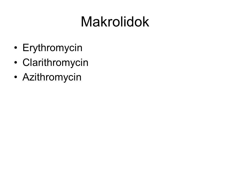 Makrolidok Erythromycin Clarithromycin Azithromycin