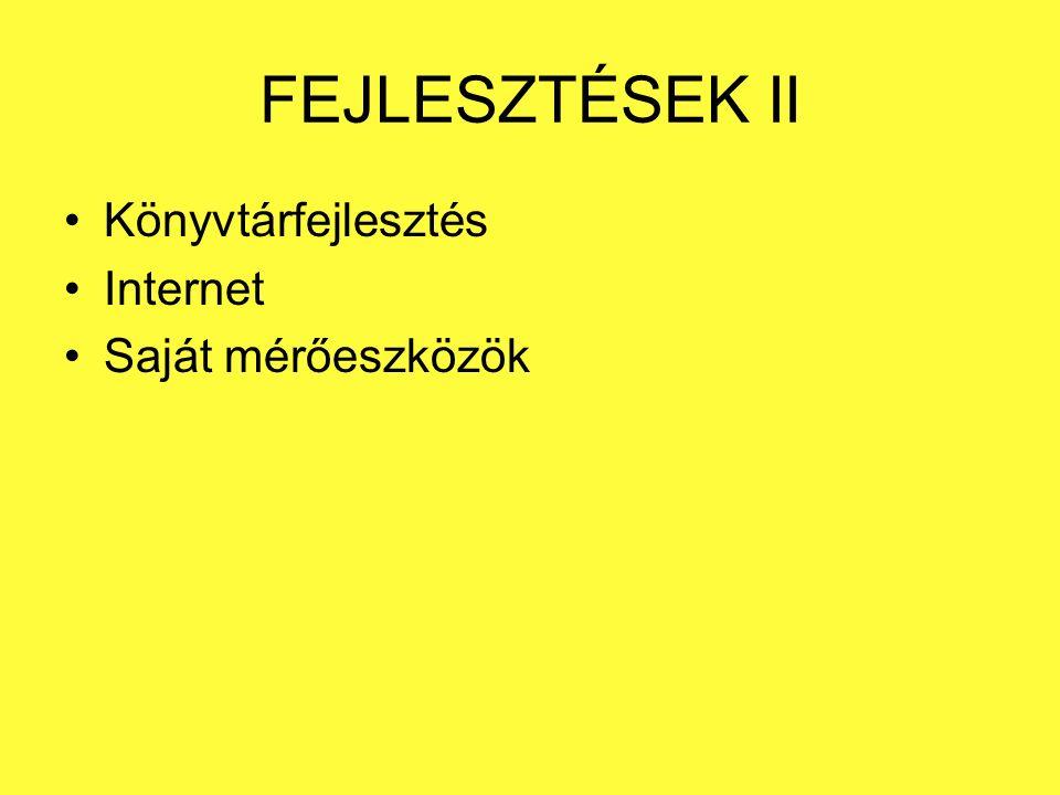 FEJLESZTÉSEK II Könyvtárfejlesztés Internet Saját mérőeszközök