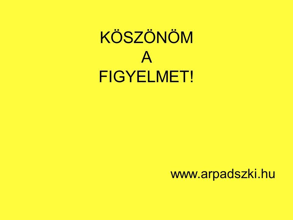 KÖSZÖNÖM A FIGYELMET! www.arpadszki.hu
