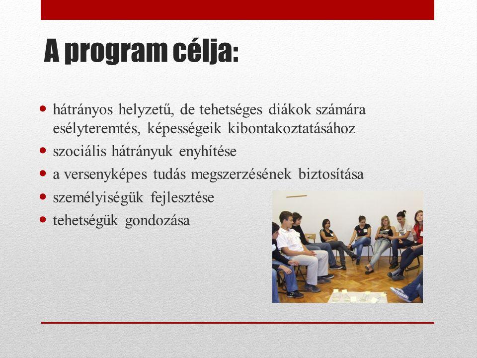 A program célja: hátrányos helyzetű, de tehetséges diákok számára esélyteremtés, képességeik kibontakoztatásához szociális hátrányuk enyhítése a versenyképes tudás megszerzésének biztosítása személyiségük fejlesztése tehetségük gondozása