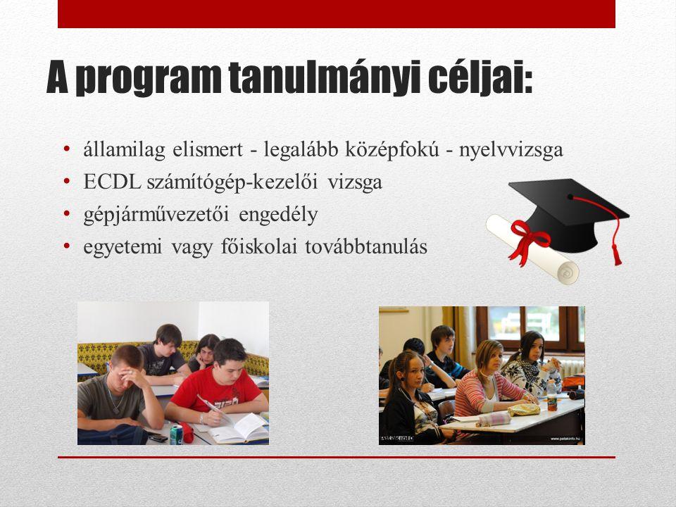 A program tanulmányi céljai: államilag elismert - legalább középfokú - nyelvvizsga ECDL számítógép-kezelői vizsga gépjárművezetői engedély egyetemi vagy főiskolai továbbtanulás